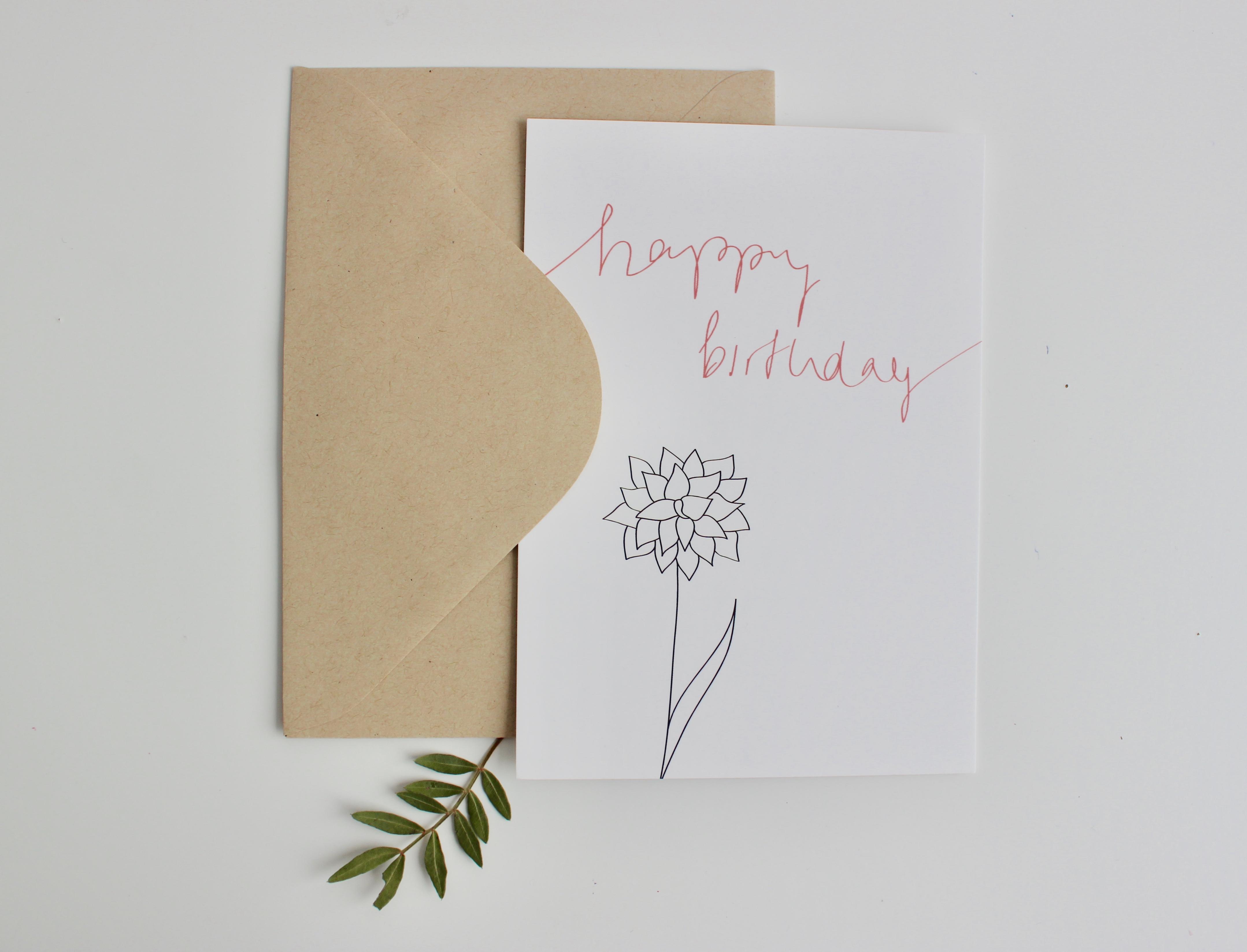 HAPPY BIRTHDAY CARD ROSE O WALDPAPIER