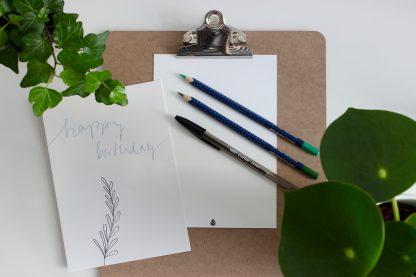 Waldpapier Happy Birthday Karte Blau