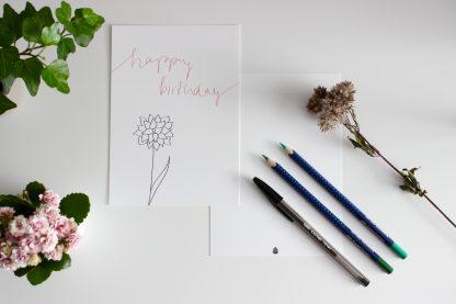 Waldpapier Happy Birthday Karte Rose