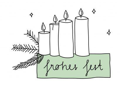 Waldpapier Weihnachtskarte Frohes Fest