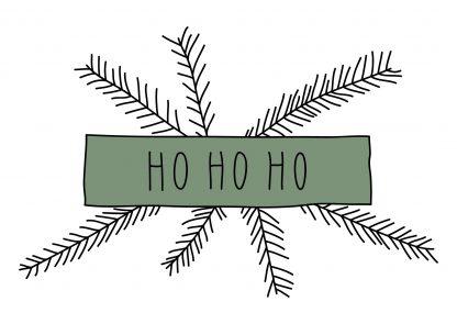 Waldpapier Weihnachtskarte Ho Ho Ho