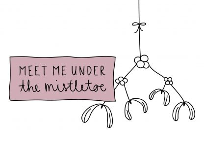 Waldpapier Weihnachtskarte Meet Me Under The Mistletoe