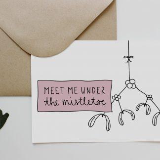 Waldpapier Weihnachten Weihnachtskarte Meet Me Unter The Mistletoe